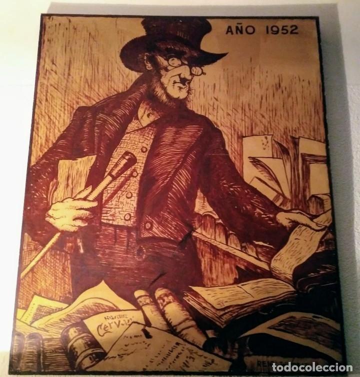 Cartel original en madera de la Feria del libro de Barcelona 1952 (1 metro x 1.22 metros x 5cm)