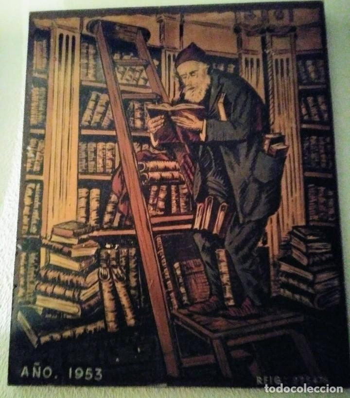 Cartel original en madera de la Feria del libro de Barcelona 1953 (1 metro x 1.22 metros x 5cm) - 113866491