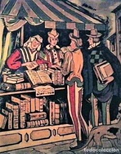 Cartel original en madera de la Feria del libro de Barcelona 1954