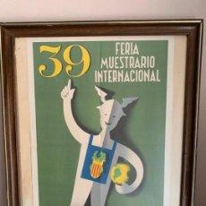 Carteles Feria: CARTEL ORIGINAL FERIA MUESTRARIO INTERNACIONAL VALENCIA 1961. Lote 153998010