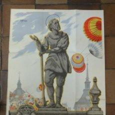 Carteles Feria: CARTEL ORIGINAL SAN ISIDRO 1947 MADRID TEDDY ILUSTRADOR. 100 X 70 CM. Lote 154231386