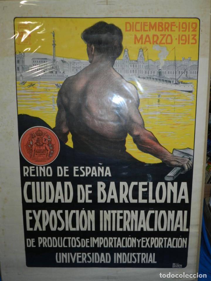 (M) CARTEL ORIGINAL CIUDAD DE BARCELONA EXPOSICION INTERNACIONAL DE PRODUCTOS 1912 / 1913 (Coleccionismo - Carteles Gran Formato - Carteles Ferias, Fiestas y Festejos)