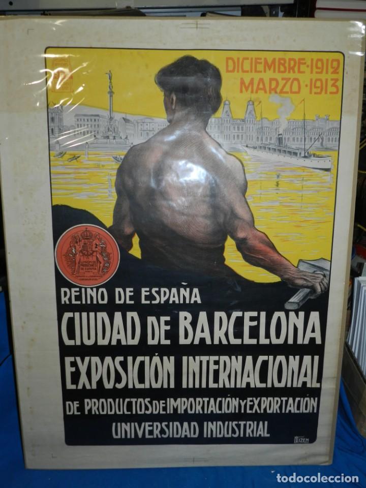 Carteles Feria: (M) CARTEL ORIGINAL CIUDAD DE BARCELONA EXPOSICION INTERNACIONAL DE PRODUCTOS 1912 / 1913 - Foto 2 - 154286838