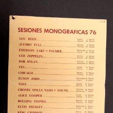 Carteles Feria: BOCACCIO - CARTEL 1976 - SESIONES MONOGRAFICAS DE GRUPOS MUSICALES. Lote 154810902