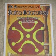 Carteles Feria: IV FIESTA DE LA GAITA CÁNTABRA, UNQUERA, NO SE INDICA AÑO, 32C45 CM. CANTABRIA, MÚSICA TRADICIONAL. Lote 155749162