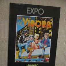 Carteles Feria: EXPOSICIÓN EL VÍBORA, COMIC, LANGREO ASTURIAS, SANTANDER CANTABRIA, 1984, 30X49 CM. Lote 155762798