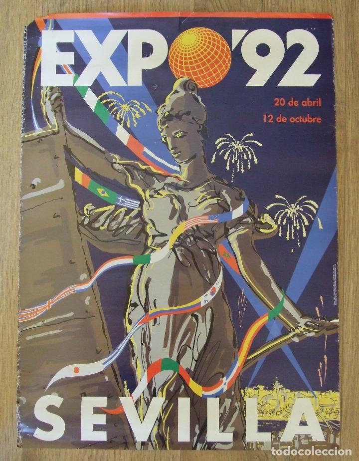 CARTEL EXPOSICION UNIVERSAL SEVILLA 1992 EXPO 92 DISEÑO OSCAR MARINE (Coleccionismo - Carteles Gran Formato - Carteles Ferias, Fiestas y Festejos)