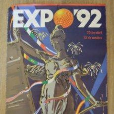 Carteles Feria: CARTEL EXPOSICION UNIVERSAL SEVILLA 1992 EXPO 92 DISEÑO OSCAR MARINE. Lote 156024478