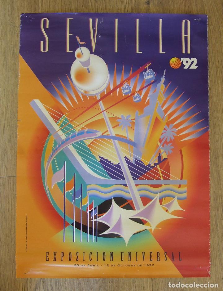 CARTEL EXPOSICION UNIVERSAL SEVILLA 1992 EXPO 92 DISEÑO JAVIER ROMERO (Coleccionismo - Carteles Gran Formato - Carteles Ferias, Fiestas y Festejos)