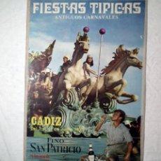 Carteles Feria: CARNAVAL DE CADIZ - CARTEL ORIGINAL AÑO 1973. Lote 160317854