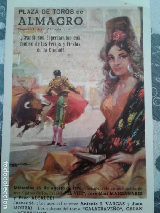 PLAZA TOROS ALMAGRO 1976 (Coleccionismo - Carteles Gran Formato - Carteles Ferias, Fiestas y Festejos)