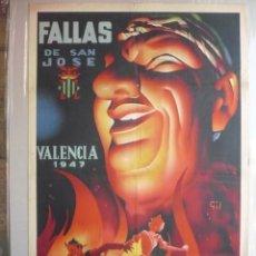 Carteles Feria: CARTEL FALLAS DE VALENCIA 1947 - 100 X 64,5 CM. ILUSTRACIÓN DE GIL.. Lote 205649760