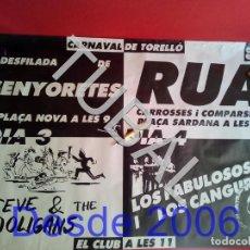 Affissi Fiera: TUBAL 1989 CARTEL CARNAVAL TORELLO SENYORETES POSTER GIGANTE RUA . Lote 165238642