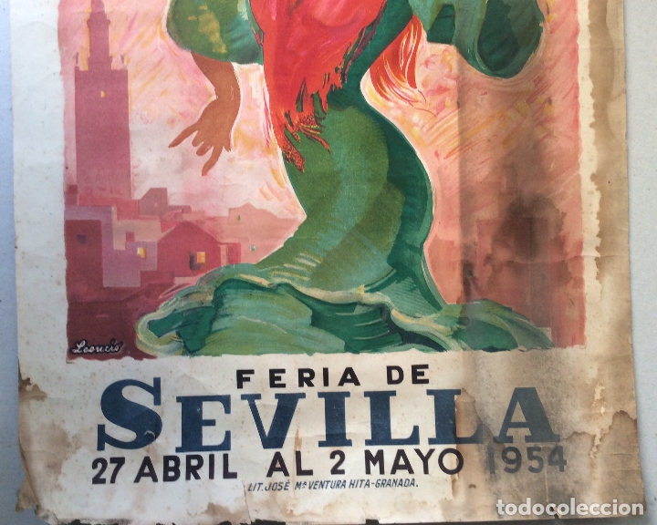 Carteles Feria: cartel feria sevilla 1964,Medida 47X33 cm - Foto 3 - 165250890