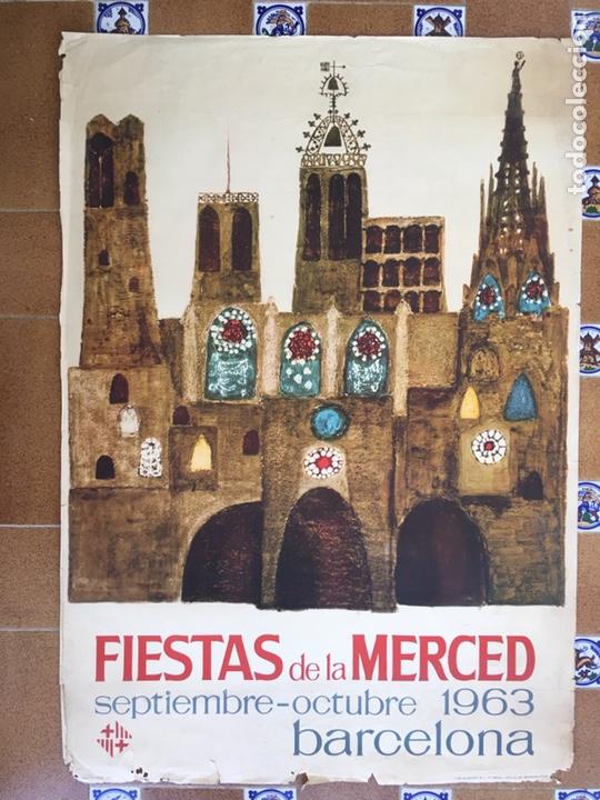 ANTIGUO CARTEL DÍA DE LA MERCED AÑO 1963 (Coleccionismo - Carteles Gran Formato - Carteles Ferias, Fiestas y Festejos)