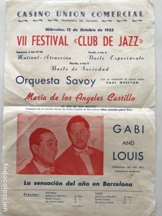 Carteles Feria: CASINO UNIÓN DE VILAFRANCA DEL PENEDES- VII FESTIVAL CLUB JAZZ. 1955. VER FOTOS ANEXAS. - Foto 2 - 166100054