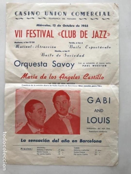CASINO UNIÓN DE VILAFRANCA DEL PENEDES- VII FESTIVAL CLUB JAZZ. 1955. VER FOTOS ANEXAS. (Coleccionismo - Carteles Gran Formato - Carteles Ferias, Fiestas y Festejos)