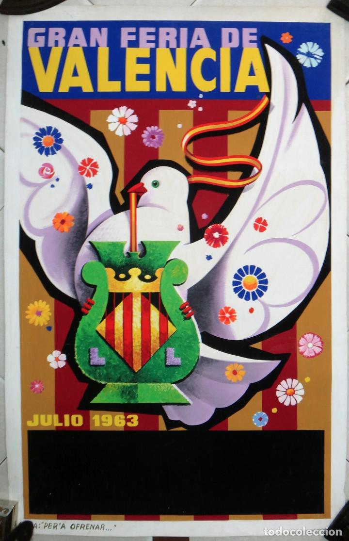 BONITO CARTEL FERIA DE JULIO VALENCIA 1963 , PINTURA ORIGINAL , PARECE DE PERIS , PINTADO A MANO (Coleccionismo - Carteles Gran Formato - Carteles Ferias, Fiestas y Festejos)
