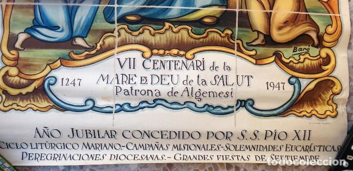 Carteles Feria: CARTEL ALGEMESI VALENCIA , 1947 , VII CENTENARIO MARE DE DEU DE LA SALUD , BARO , ORIGINAL - Foto 2 - 166149998