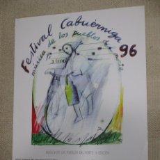 Carteles Feria: FESTIVAL CABUÉRNIGA 1995 MÚSICA DE LOS PUEBLOS DEL NORTE, FOLK ILUSTRADO POR ORALLO 43X60 CM. Lote 166404486