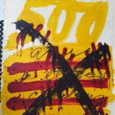 Affiches Foire: CARTEL LITOGRÁFICO. 500 ANYS DEL LLIBRE CATALÀ. 1974. TÀPIES.. Lote 166753002