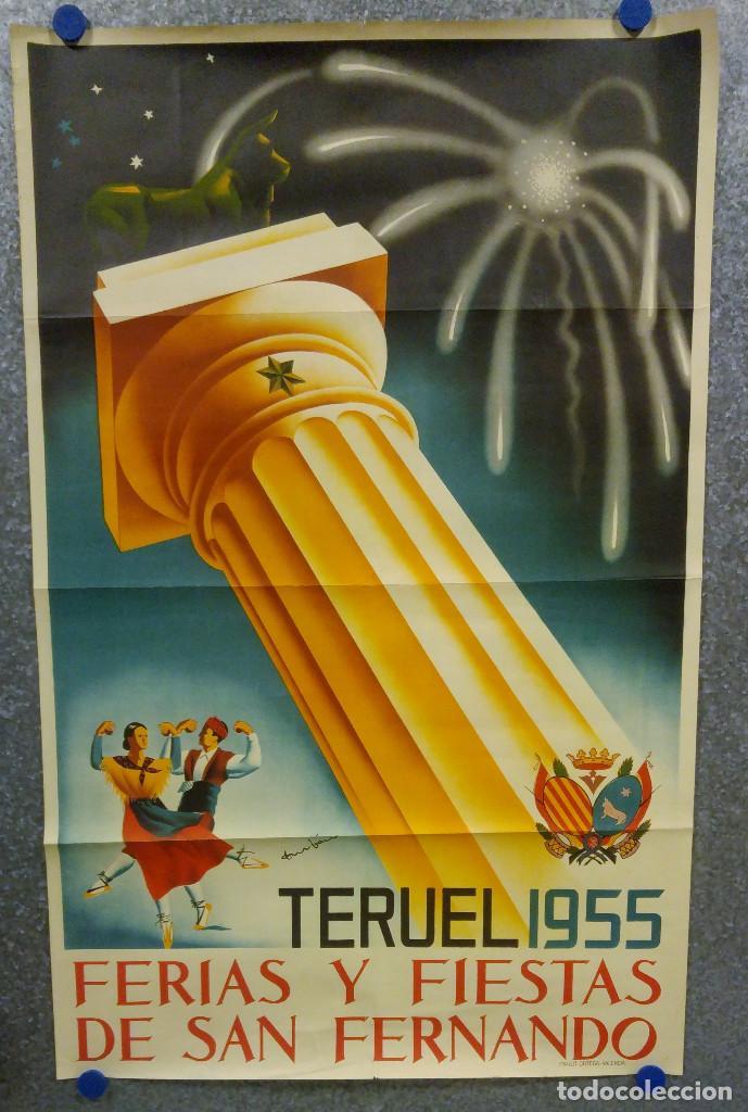 TERUEL. FERIAS Y FIESTAS DE SAN FERNANDO. AÑO 1955. CARTEL LITOGRAFICO. ILUSTRADOR DURBAN (Coleccionismo - Carteles Gran Formato - Carteles Ferias, Fiestas y Festejos)