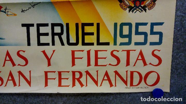 Carteles Feria: TERUEL. FERIAS Y FIESTAS DE SAN FERNANDO. AÑO 1955. CARTEL LITOGRAFICO. ILUSTRADOR DURBAN - Foto 5 - 167727744