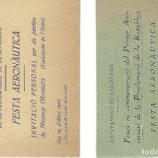 Affiches Foire: 2 INVITACIONS FESTES EN COMMEMORACIÓ DEL 1R ANIVERSARI DE LA PROCLAMACIÓ DE LA REPÚBLICA.. Lote 167929632