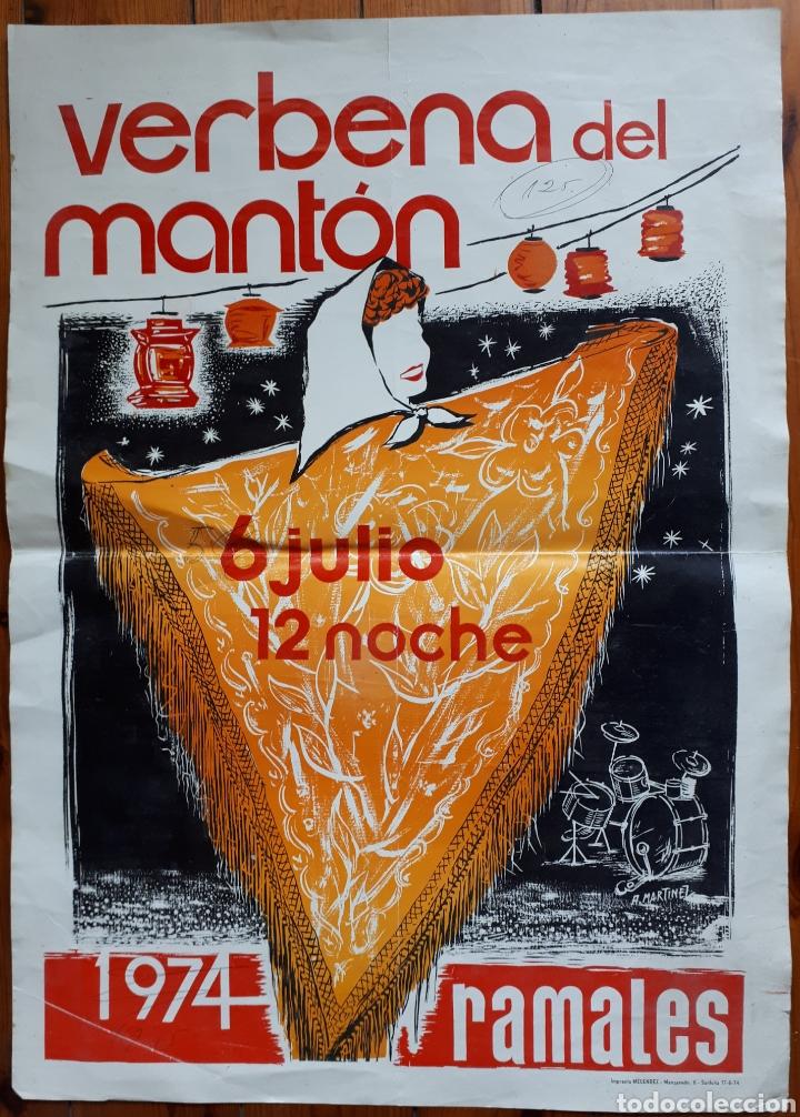 CARTEL DE VERBENA DEL MANTÓN. RAMALES 1974 - 6 DE JULIO 12 NOCHE (Coleccionismo - Carteles Gran Formato - Carteles Ferias, Fiestas y Festejos)