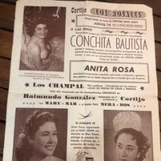Carteles Feria: CARTEL CORTIJO LOS ROSALES AÑOS 50 - CADIZ - CONCHITA BAUTISTA - MEDIDA 34,5X24,5 CM. Lote 169433244