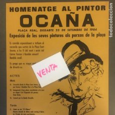 Carteles Feria: CARTEL HOMENAJE PINTOR OCAÑA PLAZA REAL BARCELONA 1984. Lote 169677325