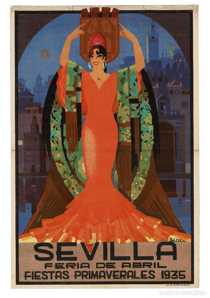CARTEL SEVILLA 1935 FIESTAS PRIMAVERA Y FERIA DE ABRIL , ILUSTRADOR BALCERA. 27 X 40 CM APROX. (Coleccionismo - Carteles Gran Formato - Carteles Ferias, Fiestas y Festejos)