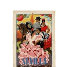 Carteles Feria: SEVILLA.- CARTEL FERIA DE ABRIL. PRIMAVERA 1946.I.G.A.S.A. SEVILLA. DIBUJO BAENA. 50 X 35. Lote 171257240