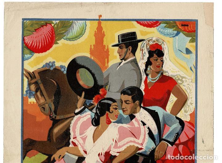 Carteles Feria: SEVILLA.- CARTEL FERIA DE ABRIL. PRIMAVERA 1946.I.G.A.S.A. SEVILLA. DIBUJO BAENA. 50 X 35 - Foto 2 - 171257240