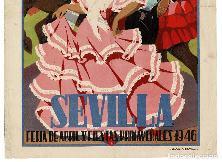 Carteles Feria: SEVILLA.- CARTEL FERIA DE ABRIL. PRIMAVERA 1946.I.G.A.S.A. SEVILLA. DIBUJO BAENA. 50 X 35 - Foto 3 - 171257240