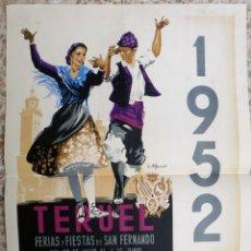 Carteles Feria: CARTEL FERIAS Y FIESTAS DE SAN FERNANDO , TERUEL 1952 , LITOGRAFIA , GUILLERMO , ORIGINAL . Lote 171260662