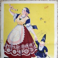 Carteles Feria: CARTEL FERIAS Y FIESTAS DE LA PRIMAVERA MURCIA Y SEMANA SANTA 1949 , MEDIANO , FUENTES , ORIGINAL . Lote 171261718