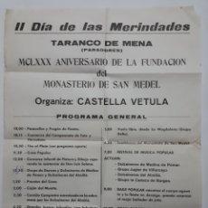 Carteles Feria: II DIA DE LAS MERINDADES. TARANCO DE MENA(PARADORES) MCLXXX ANIVERSARIO DE LA FUNDACION DE SAN MEDEL. Lote 171367348