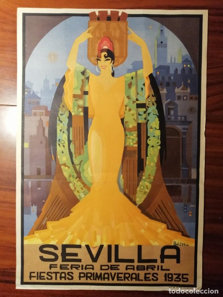 Carteles Feria: CARTEL FIESTAS DE PRIMAVERA SEVILLA 1935 ORIGINAL - Foto 3 - 54396887