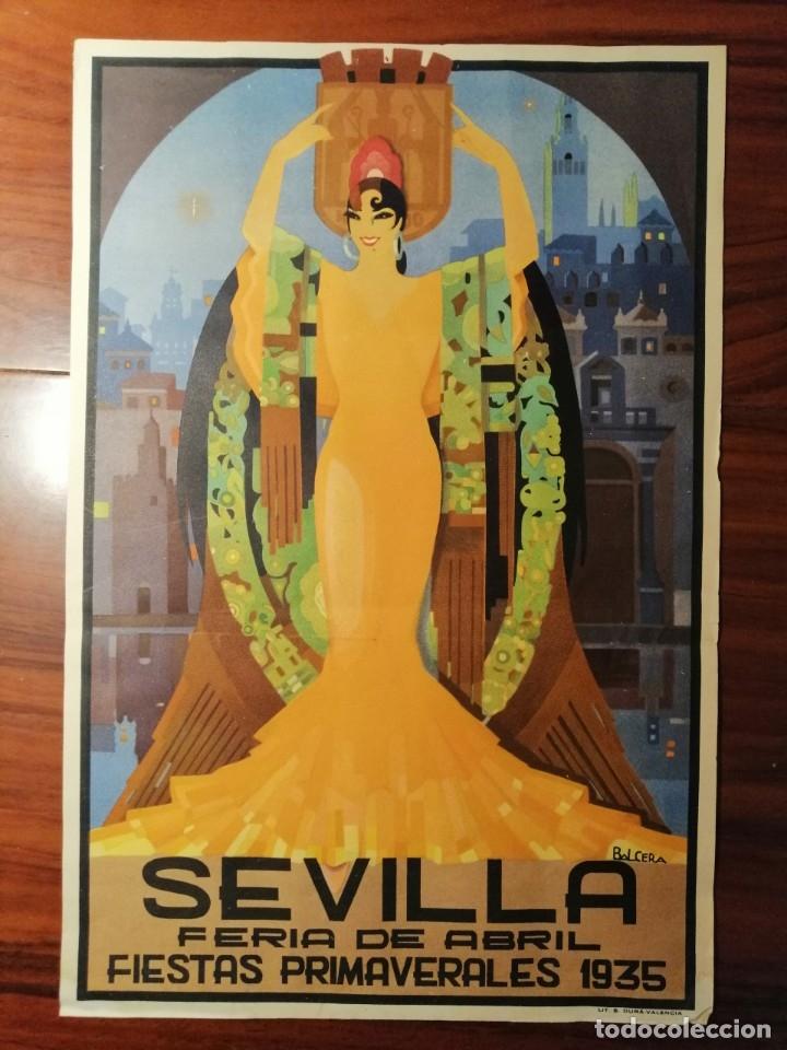 Carteles Feria: CARTEL FIESTAS DE PRIMAVERA SEVILLA 1935 ORIGINAL - Foto 4 - 54396887