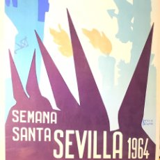 Carteles Feria: SEVILLA. SEMANA SANTA 1964. ANTONIO ADELARDO. 68X46 CM. CARTEL ORIGINAL. Lote 173600358