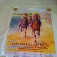 Carteles Feria: CARTEL CARRERAS DE CABALLOS 2019 SANLÚCAR DE BARRAMEDA. Lote 210697835