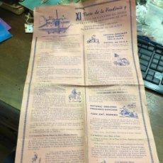 Carteles Feria: CARTEL PROGRAMA XI FIESTA DE LA VENDIMIA DE JEREZ AÑO 1958 - MEDIDA 56X31 CM - TORO. Lote 175123697