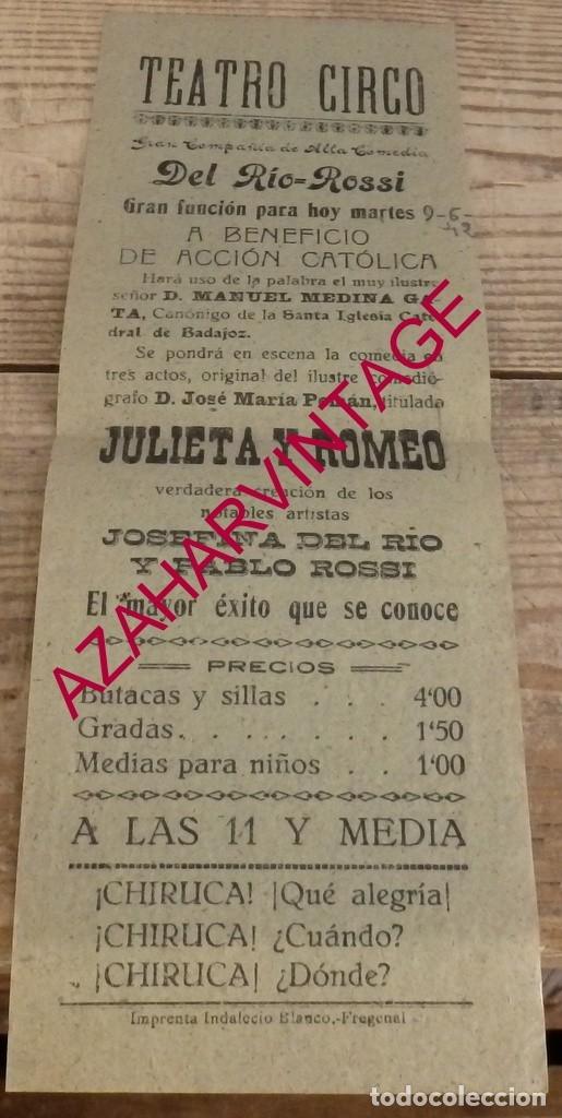 FREGENAL DE LA SIERRA, 1942, CARTEL OBRA DE TEATRO A BENEFICIO DE ACCION CATOLICA,105X300MM (Coleccionismo - Carteles Gran Formato - Carteles Ferias, Fiestas y Festejos)