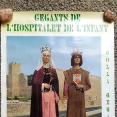 Carteles Feria: PÓSTER GEGANTS DE L'HOSPITALET DE L'INFANT. FOMENT CULTURAL. BLANCA D'ANJOU I INFANT PERE.. Lote 176496132
