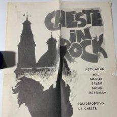 Affiches Foire: ANTIGUO PÓSTER CARTEL DEL CONCIERTO CHESTE IN ROCK METRALLA SATÁN SALEM SHARET Y HAL AÑOS 80. Lote 176598335