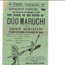 Carteles Feria: ARAHAL (SEVILLA) TEATRO CERVANTES. 26/9/1919 . 31X11 CM.. Lote 176986620