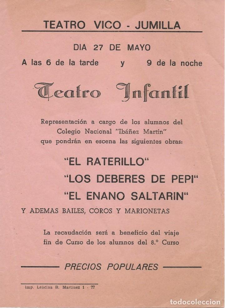 CARTEL TEATRO VICO JUMILLA PROGRAMACIÓN DE TEATRO INFANTIL (Coleccionismo - Carteles Gran Formato - Carteles Ferias, Fiestas y Festejos)