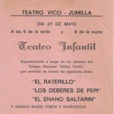 Carteles Feria: CARTEL TEATRO VICO JUMILLA PROGRAMACIÓN DE TEATRO INFANTIL. Lote 176997743