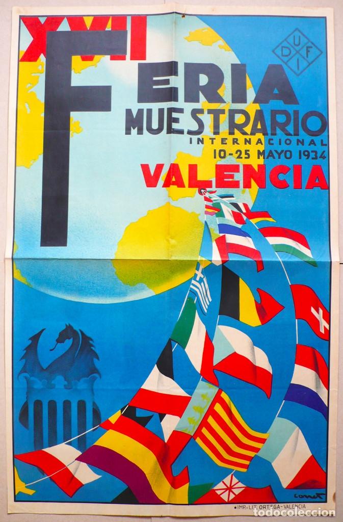 VALENCIA. GRAN CARTEL FERIA MUESTRARIO INTERNACIONAL . AÑO 1934. REPÚBLICA. (Coleccionismo - Carteles Gran Formato - Carteles Ferias, Fiestas y Festejos)